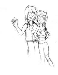 Emily and Dark Gem  ( awful sketch number 1)