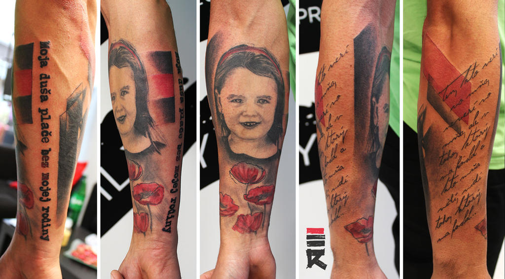 Portrait trash polka style half sleeve by enhancertattoo for Tattoo shops in st george