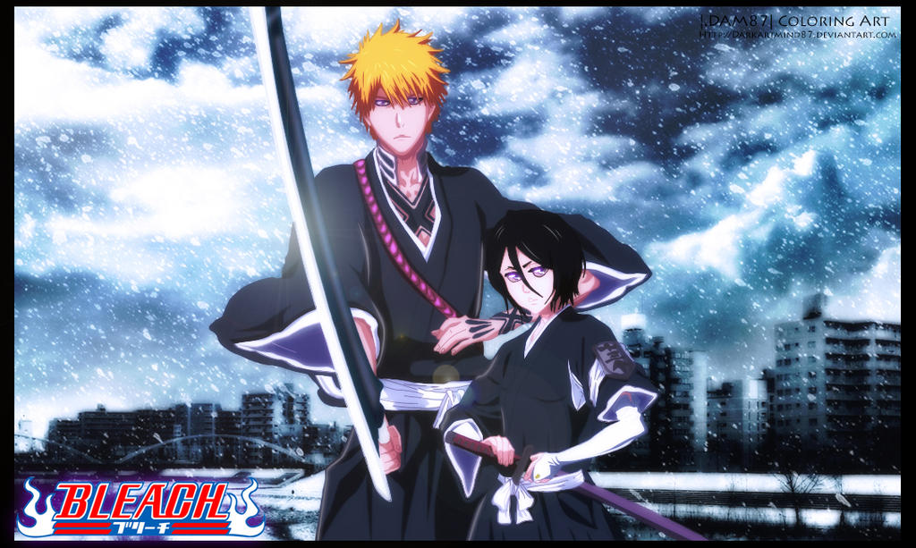 Kurosaki Ichigo and Kuchiki Rukia by Darkartmind87