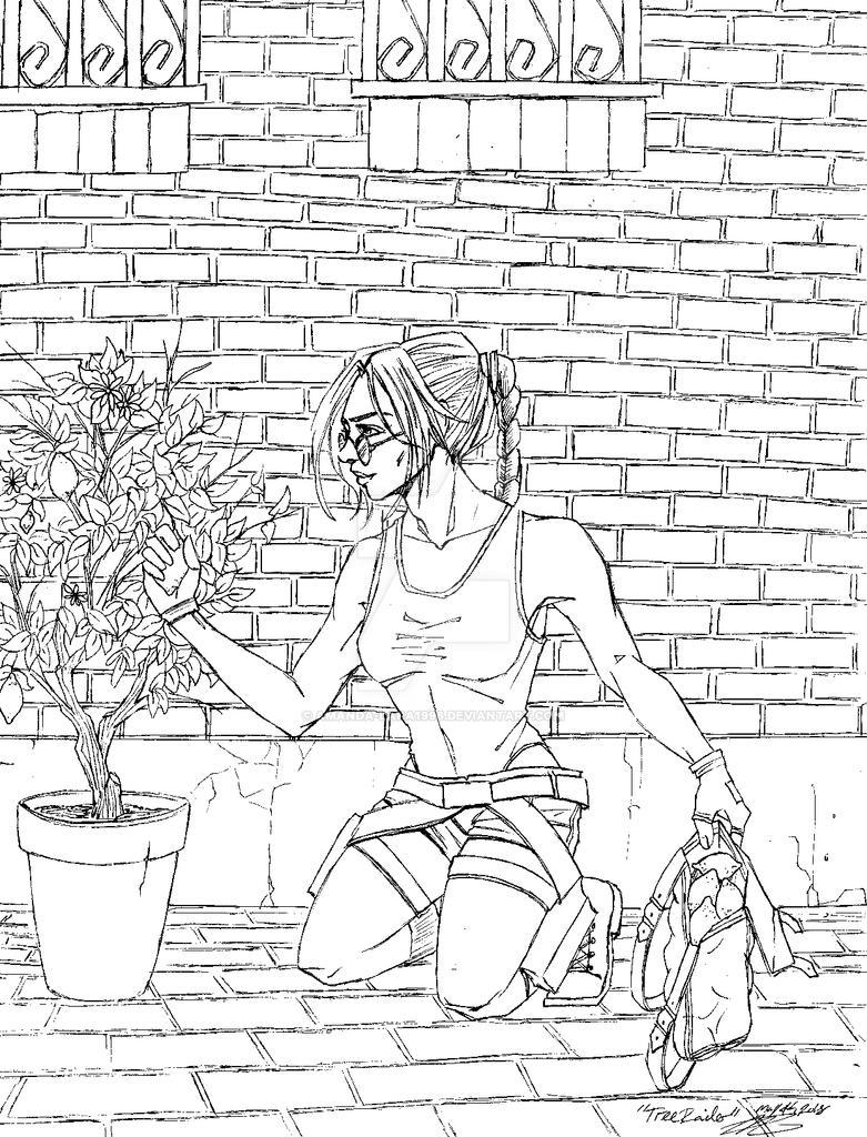 Tree Raider - Tomb Raider II inspired lineart by Amanda-Lara1996