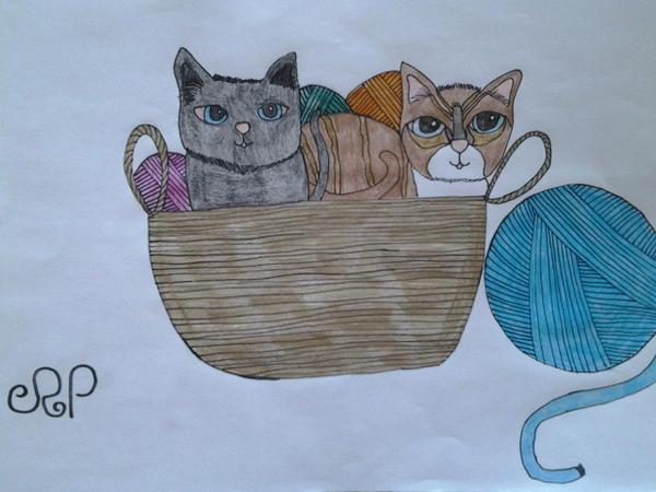 Two little kittens in a basket of wool. by DragonMaster003