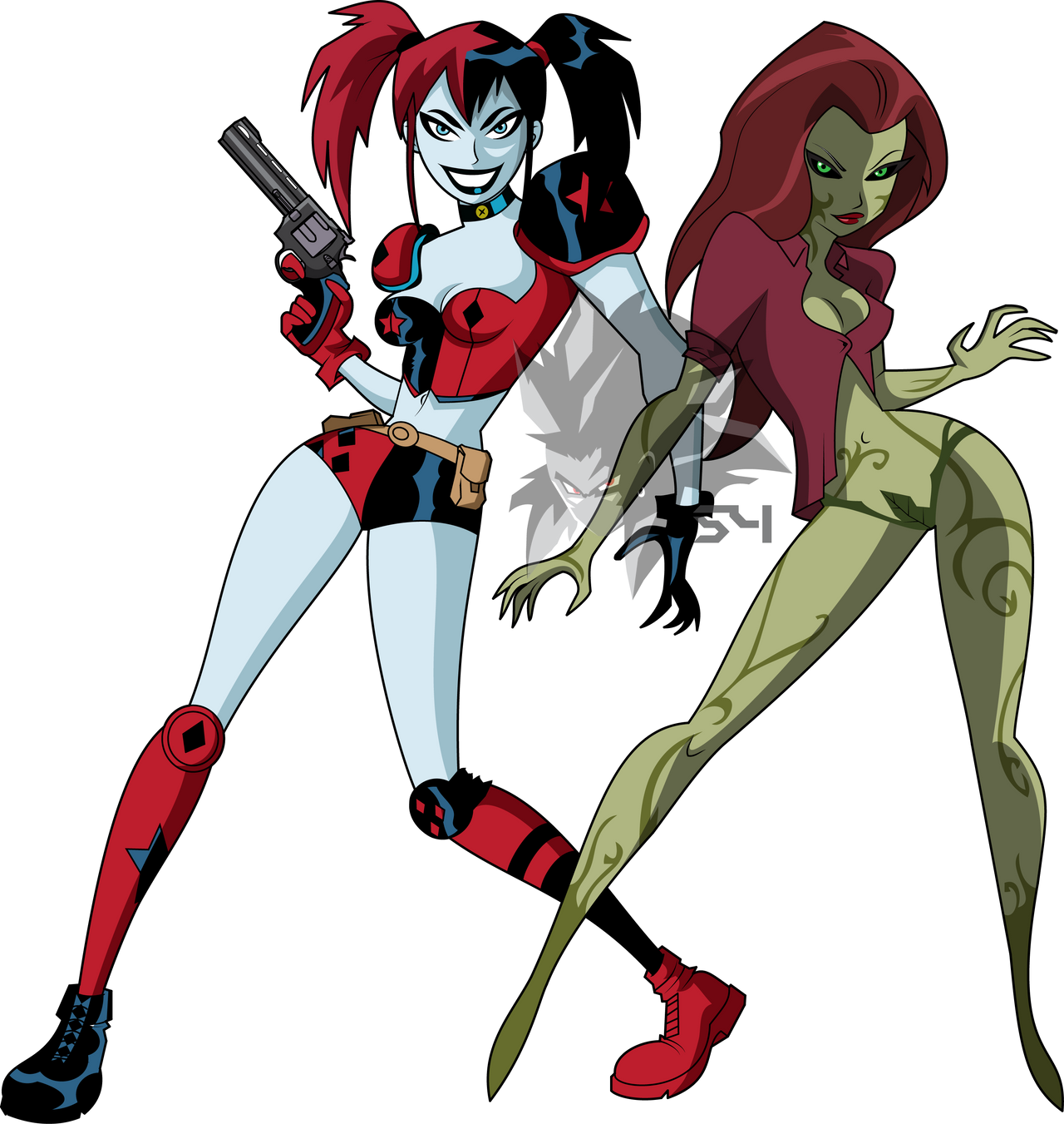 harley quinn and poison ivy bruce timm style by mad 54
