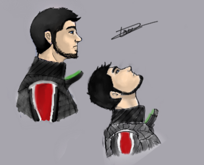 My commander Shepard with Dead Space 3 armor by vault-boyxD101