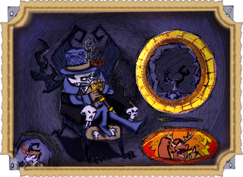 Triumpant Skeledork on the throne by Ohthehumanityplz