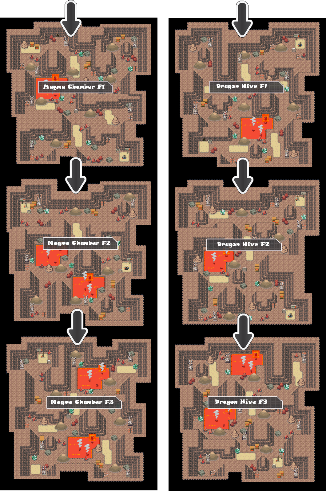 Zone 17 Dragon Caves Zone Map Pokemon Like MMORPG