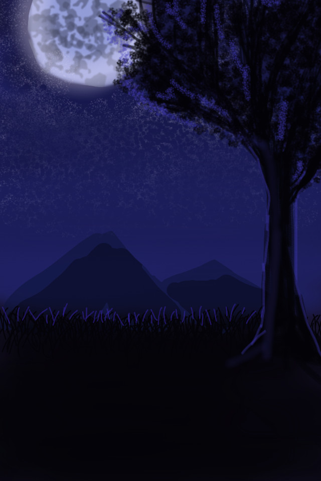 Moonlight_Finger Painting by Tsitra360