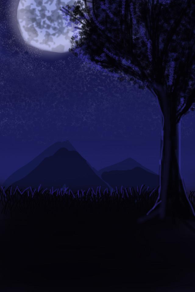Moonlight_Finger Painting by Tsitra360