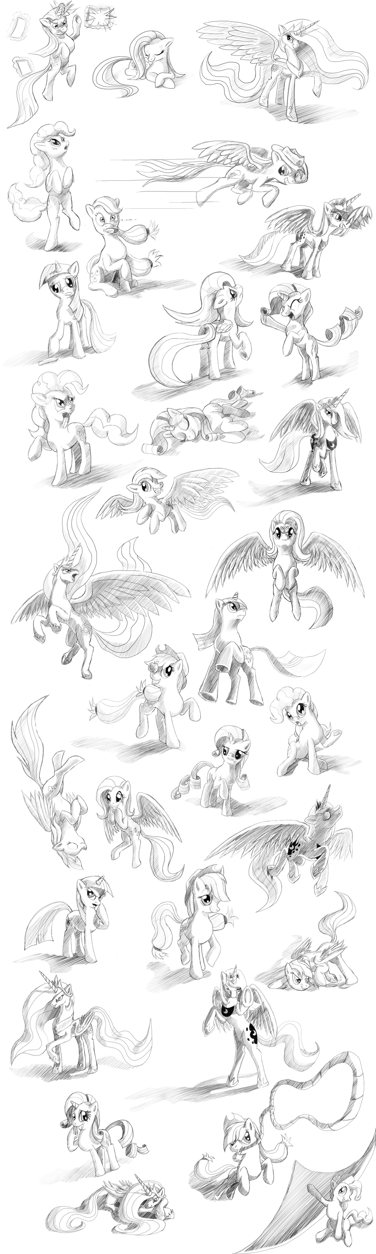 Huge Pony Sketch Dump by Tsitra360