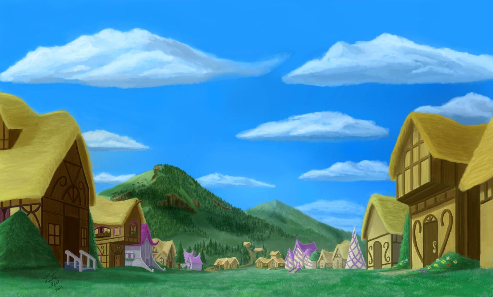 Ponyville Background by Tsitra360