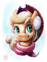 Snow Pony_Applejack by Tsitra360