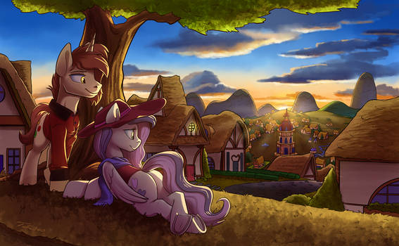 Ponyville Overlook - Commission