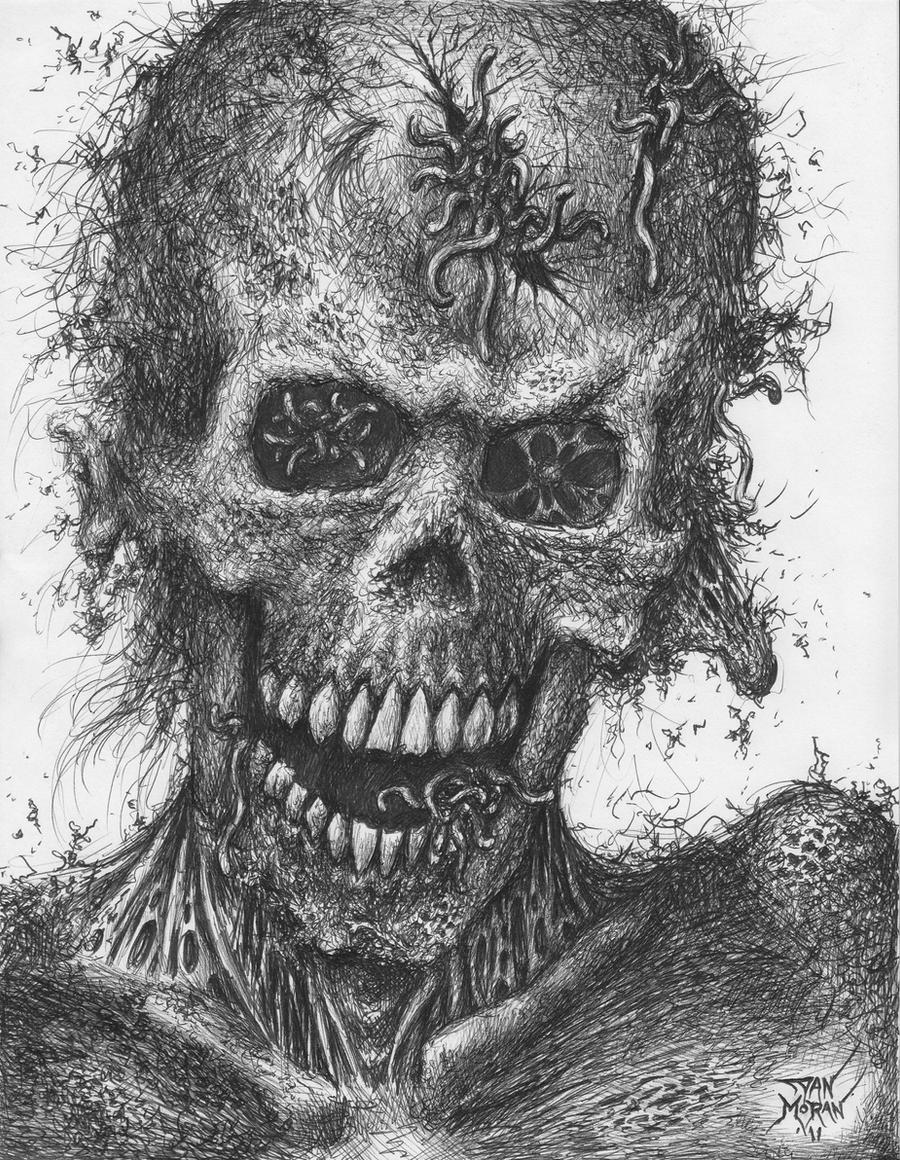 Zombie Face Line Drawing : Zombie portrait number by dan moran on deviantart