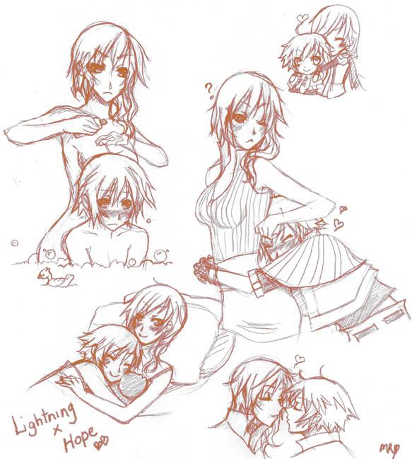 Lightning x Hope Sketches by Chiyoyo