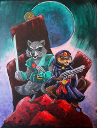 Rocket Acrylic Painting by johnraygun