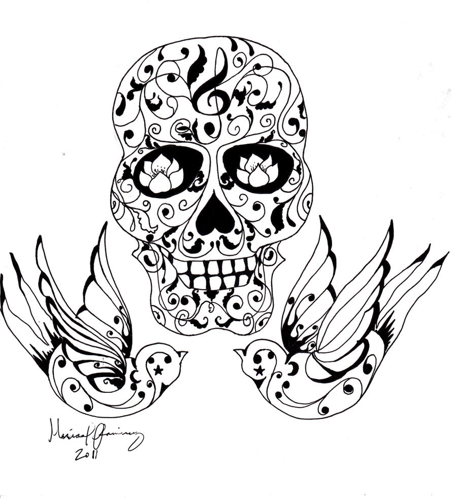Sugar skull tattoo by zozi333 on deviantart for Simple sugar skull coloring pages
