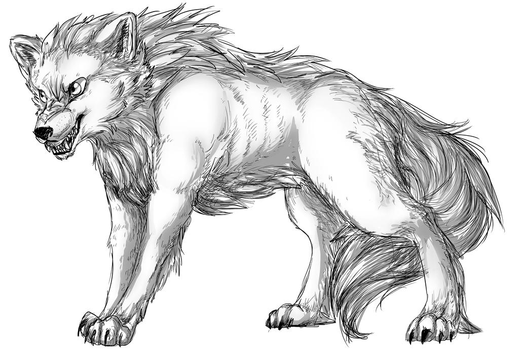 Werewolf dayform by AwkwardLoser