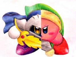Kirby vs. Meta-Knight by Kirbeanie08
