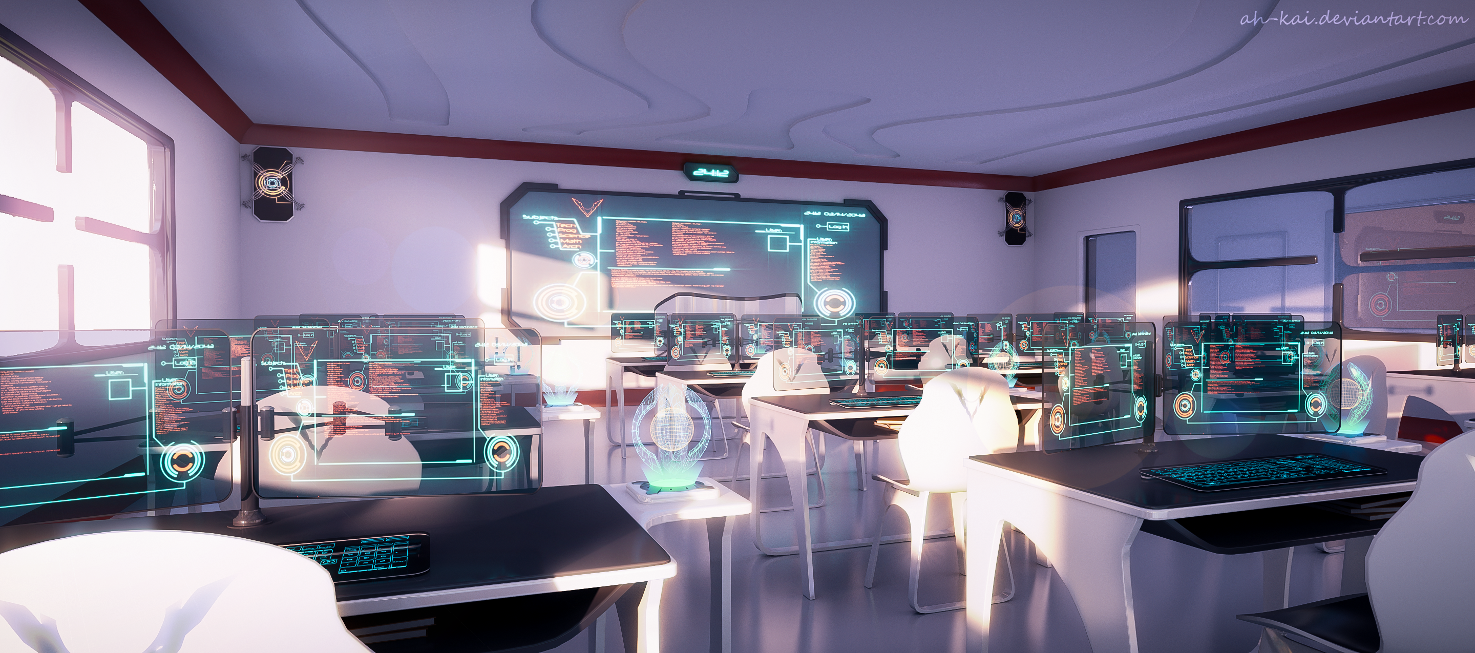 Classroom Wallpaper Design : Sci fi anime classroom by ah kai on deviantart