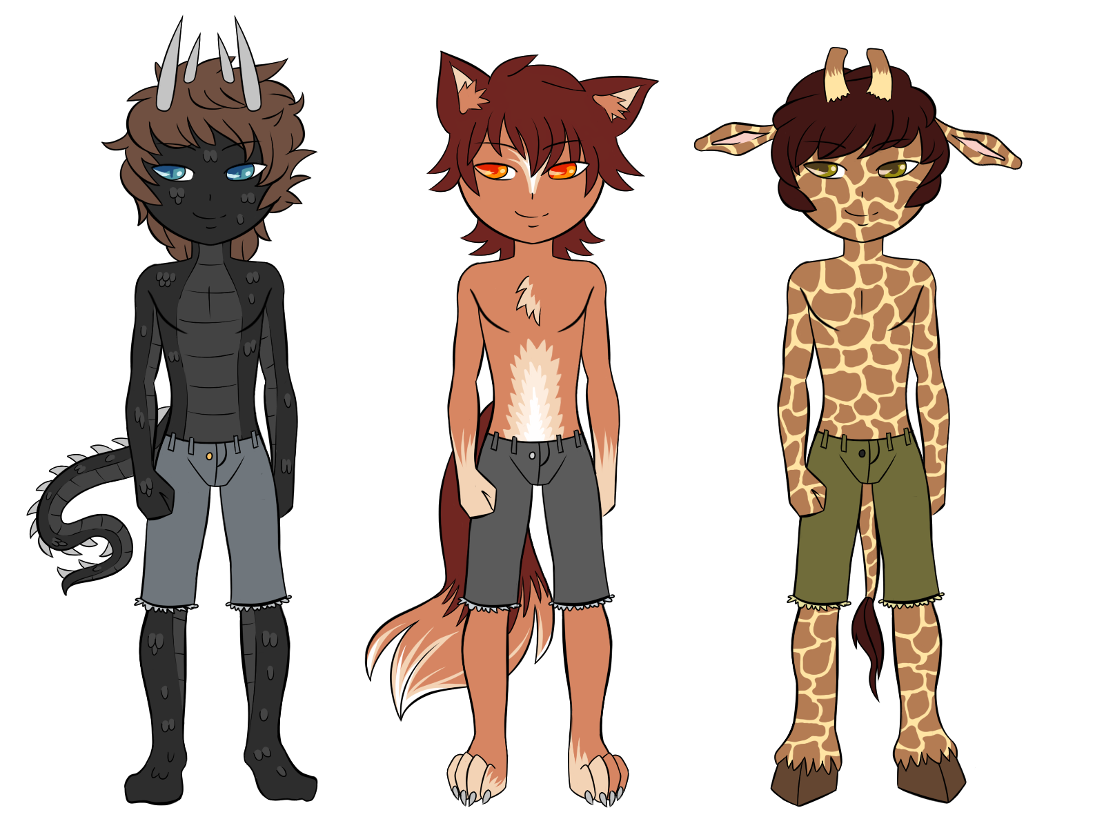 Raptilian, Wolf, Giraffe Furry by GTeam