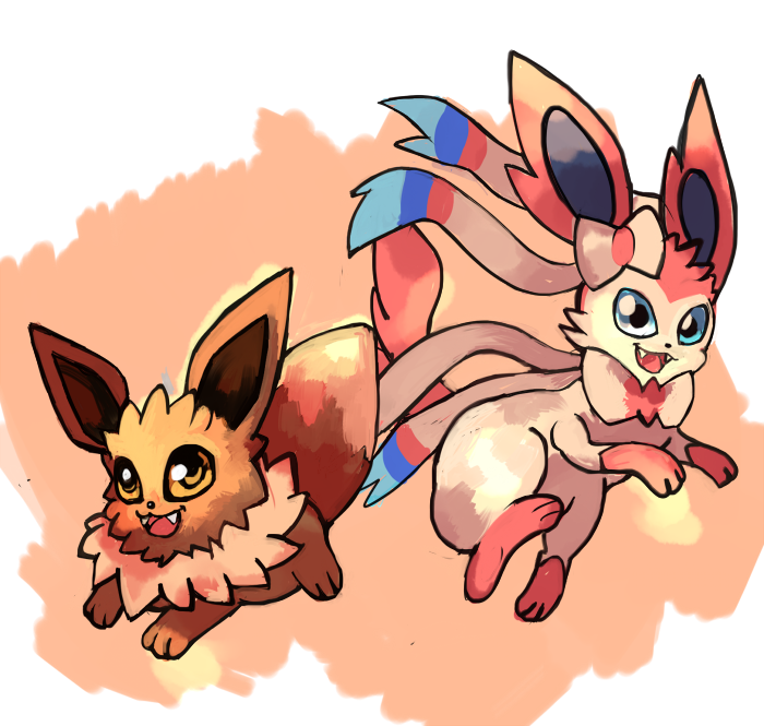 Eevee and Sylveon by LizardonEievui13