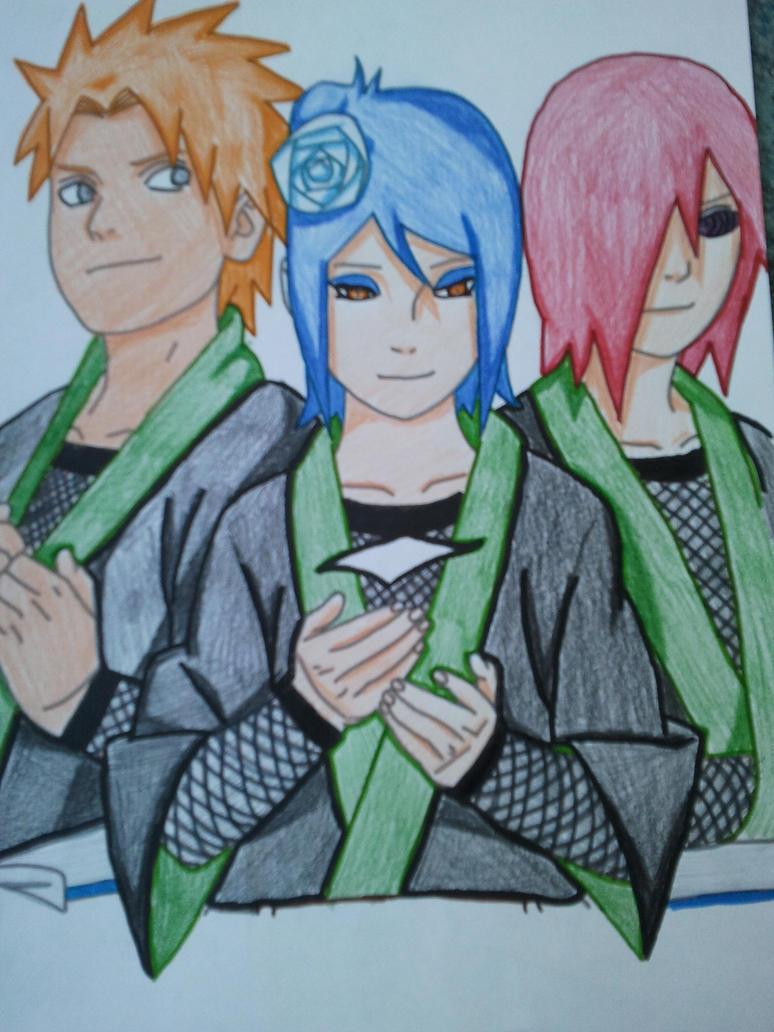 Yahiko, Konan y Nagato colour by DeerOfTheGirls