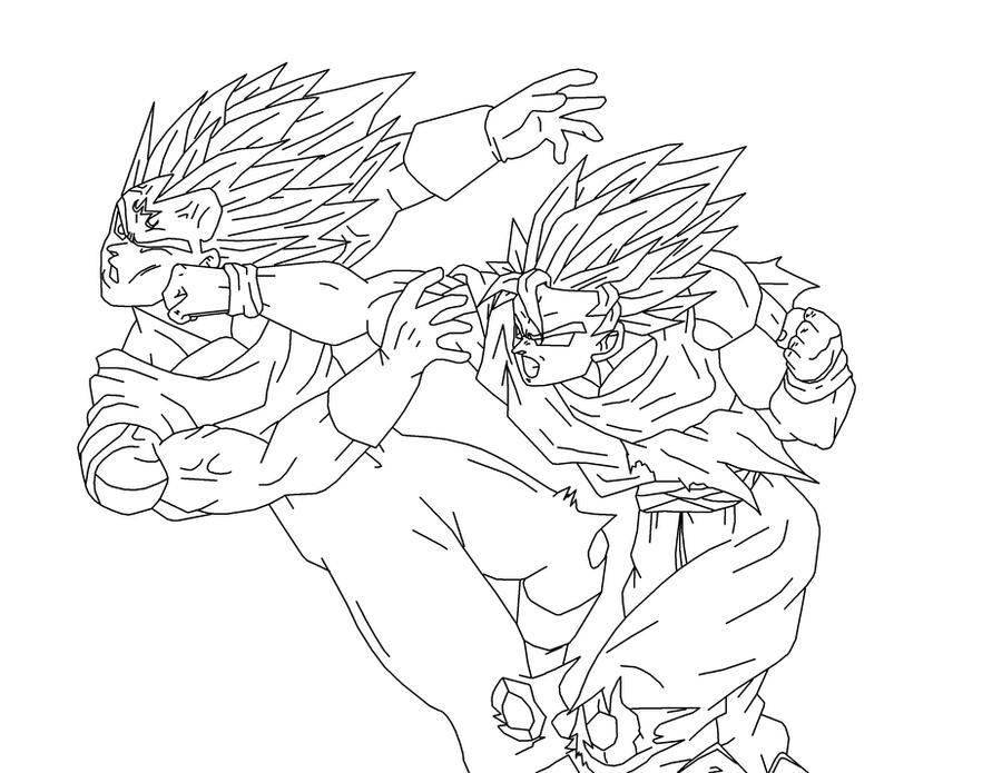 Line Art Vs No Line Art : Goku vs vegeta basic line art by animefreakazoid on