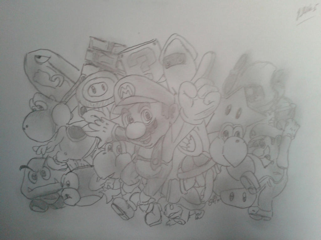 Mario Party Characters Pencil Drawing By Jadunsykes On