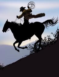 Marlboro Man Riding Downhill
