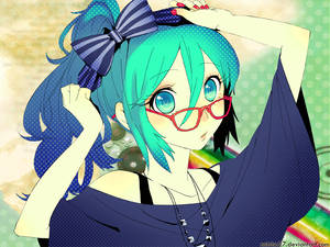 glasses cutie miku wallpaper