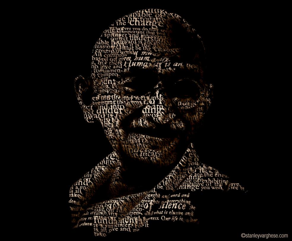 mahatma gandhi typography by kodereaper on deviantart