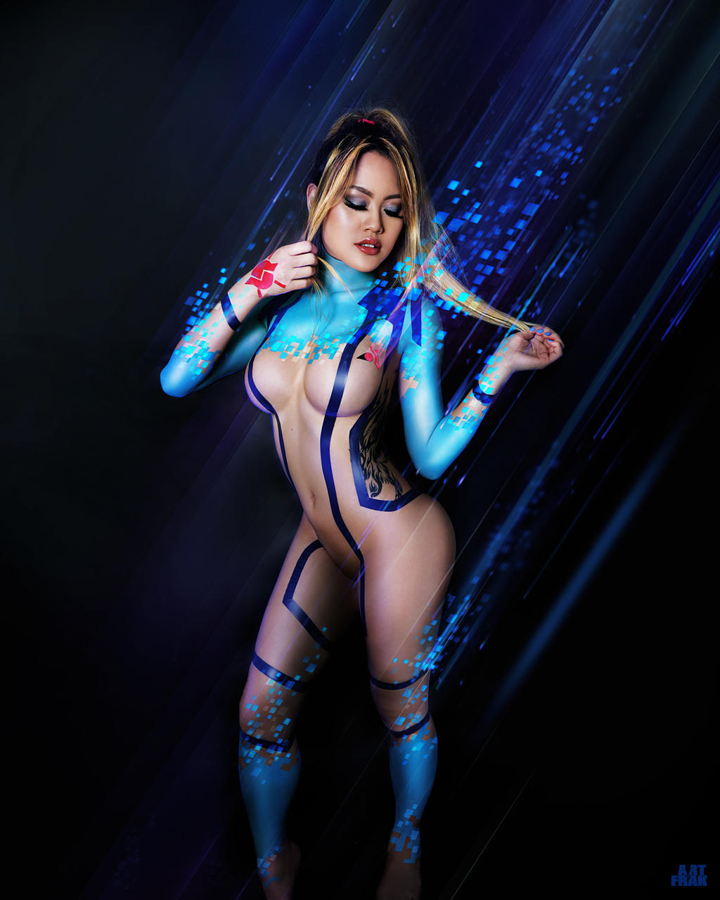 Sumas Zero Suit 3 - Electrical tape outfit design by ArtFrak