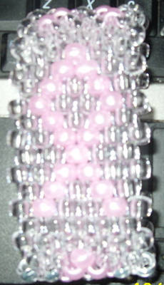 Breast Cancer Bead Cuff:Clear