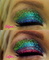 Glitter Eyes before and after