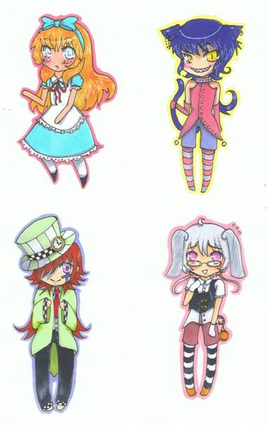 [COMMIS] Art commissions {TAMMY} OPEN Alice_in_wonderland_keychains_by_Tamarah