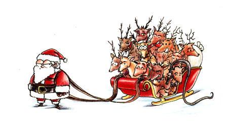 santa and his merry reindeer by rawbot - Reindeer And Santa