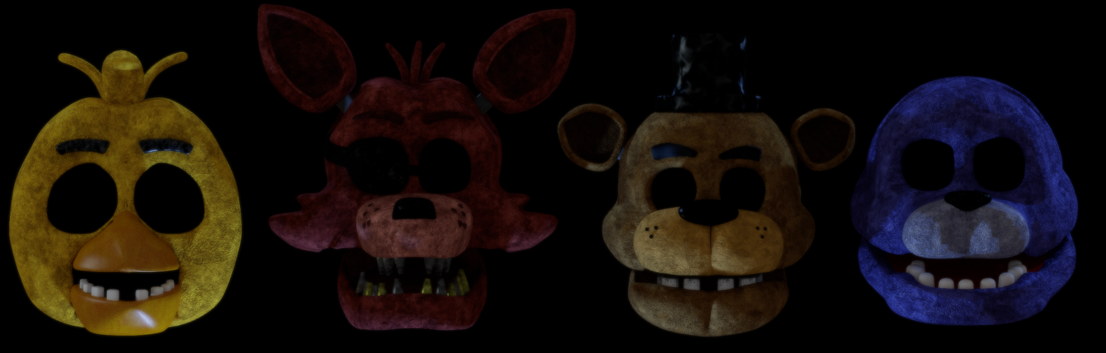 FNaF 1 Animatronic Heads by Michael-V
