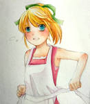 Rollchan in an apron
