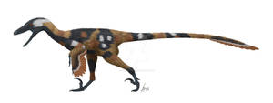 Velociraptor in cape hunting dog garb