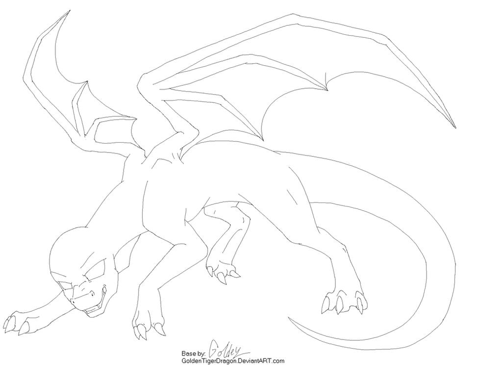 Line Art Dragon : Male dragon base by goldentigerdragon on deviantart