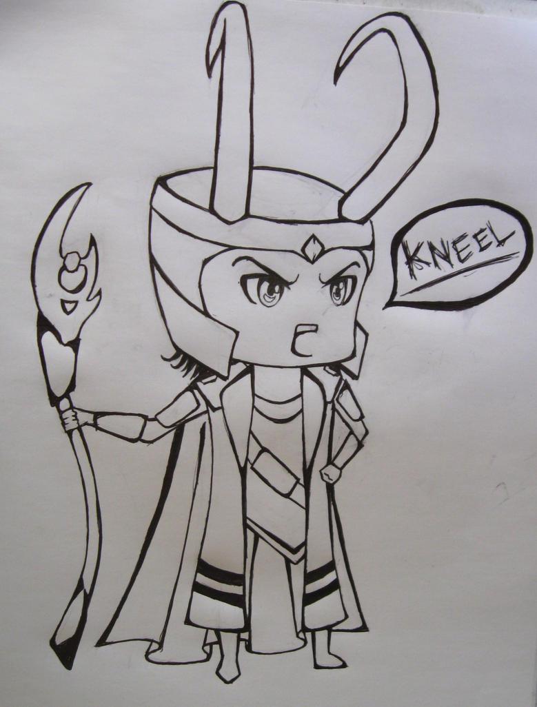 Chibi Avengers Coloring Pages : Chibi loki line art by danaxneuro on deviantart