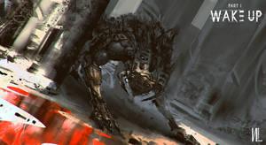 Concept art Cyborg beast paint on Ipad