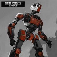 Quick Concept robot on Ipad Procreate by RaZuMinc