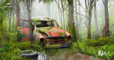 Abandoned car (Procreate)