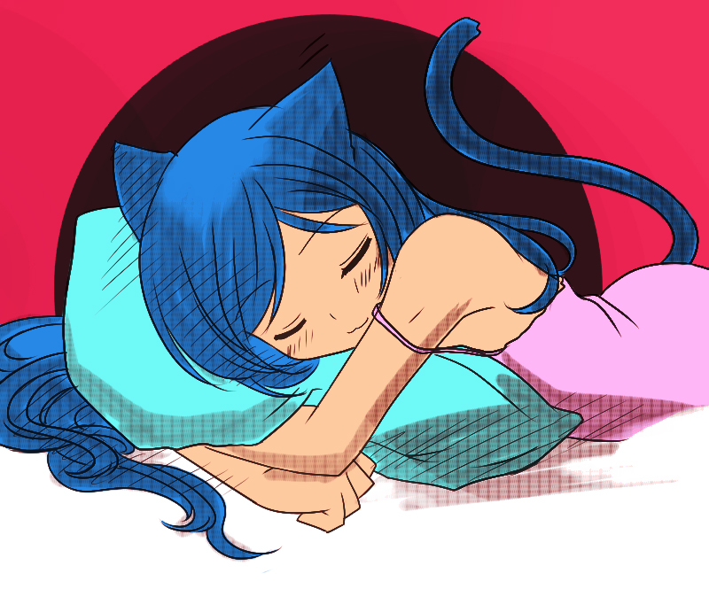 Sleeping neko girl by PietZorz