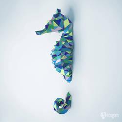 Seahorse papercraft pattern