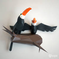Couple of toucans papercraft by EcogamiShop