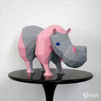 Hippo, the strange hippo papercraft sculpture
