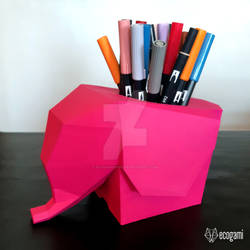 Papercraft elephant pen holder