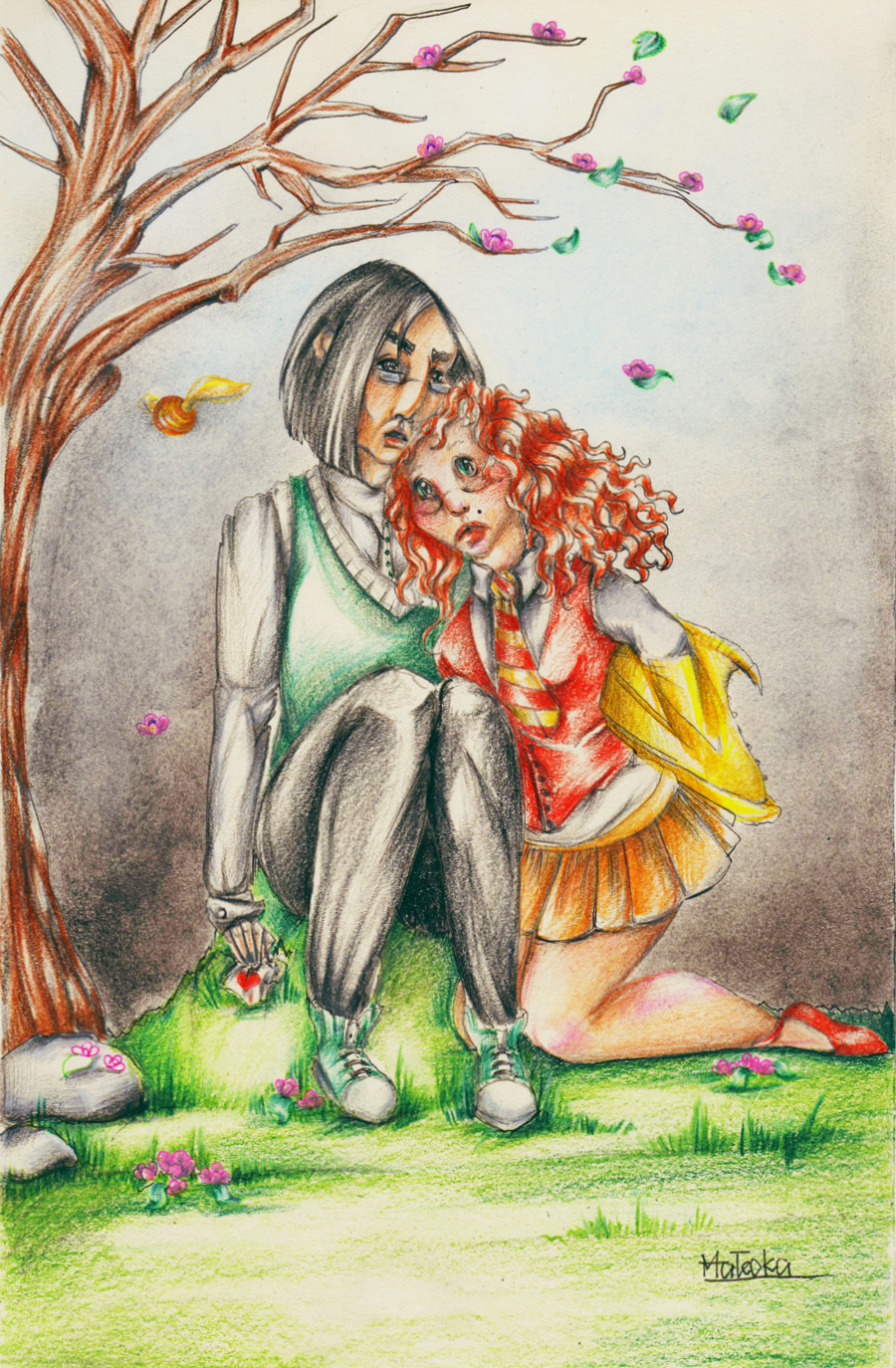 Fanart Snape and Lily by madamsaske
