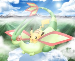 Flygon and pikachu chibi by xMarisa-Fanx